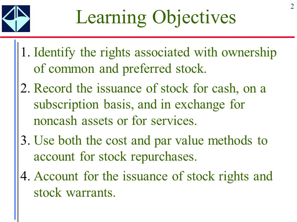 2 Learning Objectives 1.Identify the rights associated with ownership of common and preferred stock. 2.Record the issuance of stock for cash, on a sub