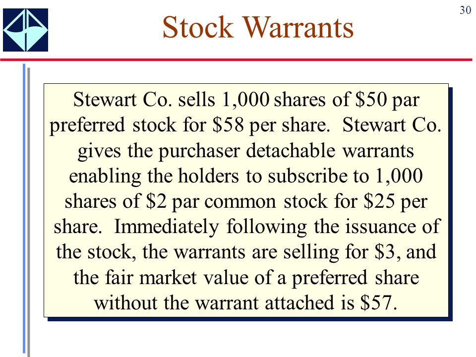 30 Stock Warrants Stewart Co. sells 1,000 shares of $50 par preferred stock for $58 per share. Stewart Co. gives the purchaser detachable warrants ena
