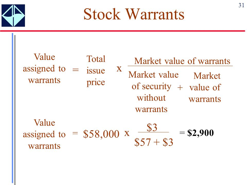 31 Stock Warrants Value assigned to warrants = Total issue price x Market value of warrants Market value of security without warrants + Market value o