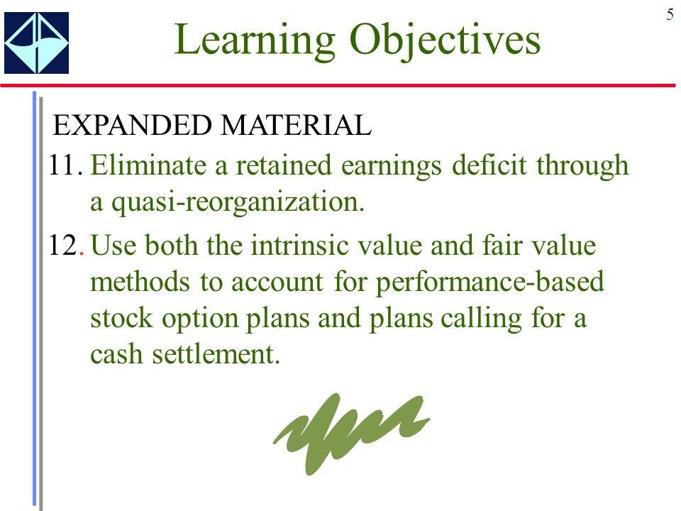 5 Learning Objectives 11.Eliminate a retained earnings deficit through a quasi-reorganization. 12.Use both the intrinsic value and fair value methods