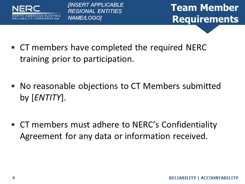 RELIABILITY | ACCOUNTABILITY5 Certification Aspects Performed Per the NERC Rules of Procedure  Section 500 and Appendix 5A require an on-site visit  Expected Outcomes - Findings o Positives o Bucket Items Roles  CTL  Members  [Entity] Participants Caucus [INSERT APPLICABLE REGIONAL ENTITIES NAME/LOGO]