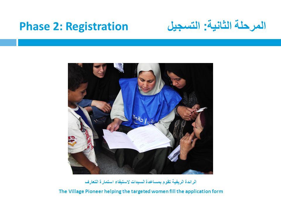 المرحلة الثانية: التسجيل Phase 2: Registration الرائدة الريفية تقوم بمساعدة السيدات لاستيفاء استمارة التعارف The Village Pioneer helping the targeted