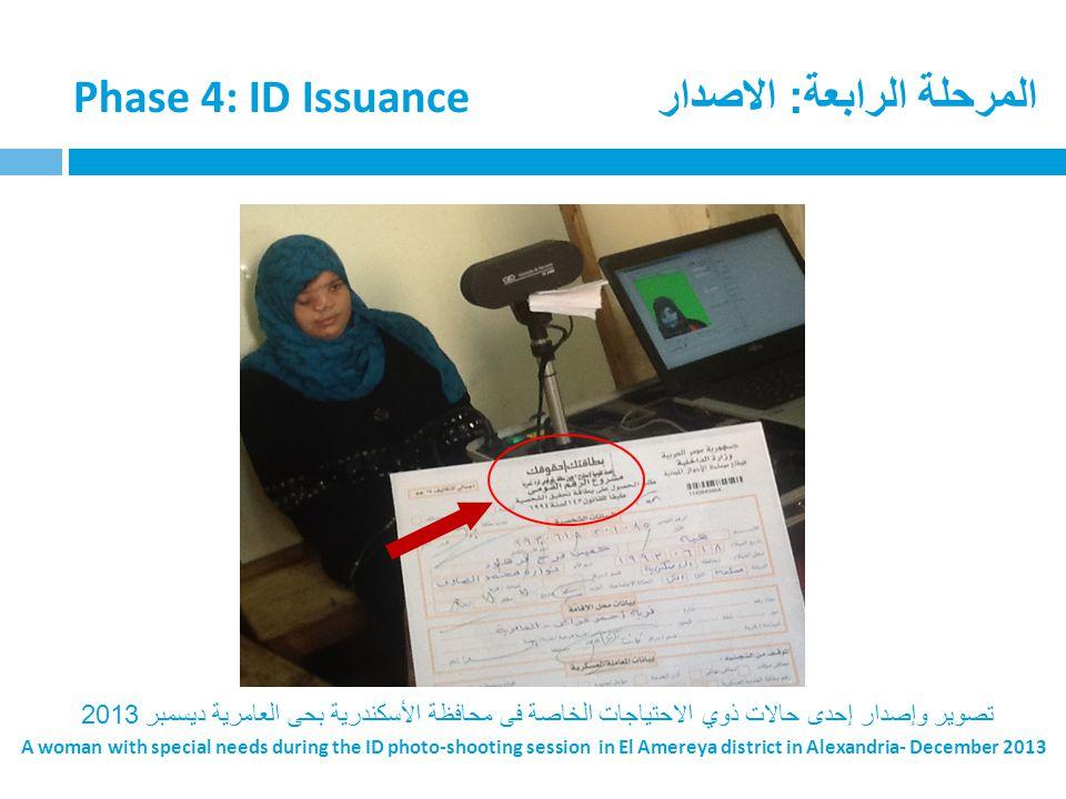 المرحلة الرابعة: الاصدار Phase 4: ID Issuance تصوير وإصدار إحدى حالات ذوي الاحتياجات الخاصة فى محافظة الأسكندرية بحى العامرية ديسمبر 2013 A woman with