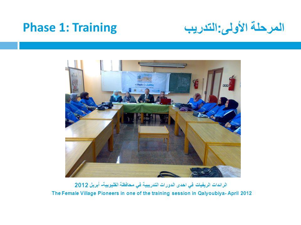 المرحلة الأولى:التدريب Phase 1: Training الرائدات الريفيات في احدى الدورات التدريبية في محافظة القليوبية- أبريل 2012 The Female Village Pioneers in on