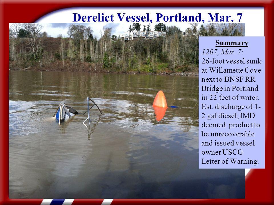 Derelict Vessel, Portland, Mar. 7 Summary 1207, Mar.