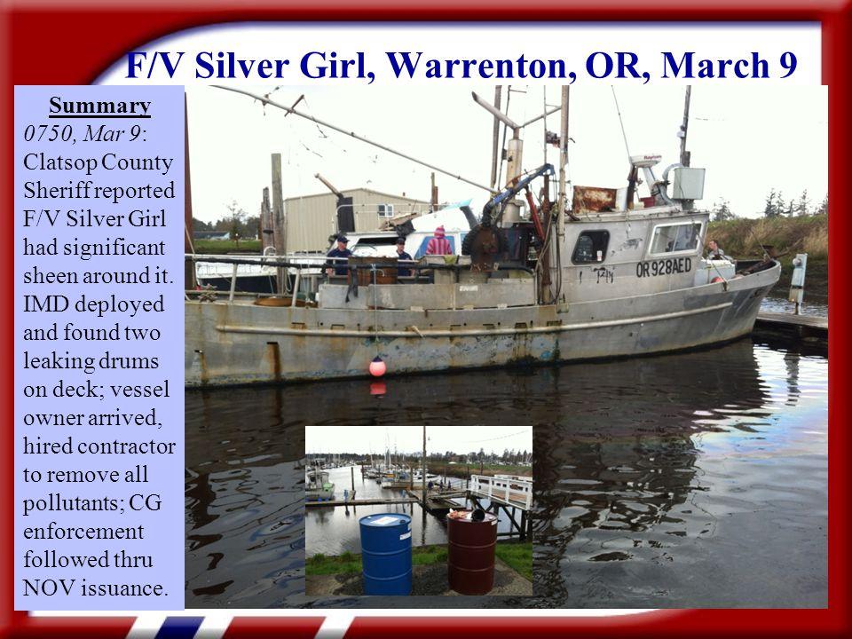 F/V JO MARIE, Brookings, Or., Jan. 20 10-12 CFVs navigate around sunken vsl each day for a week