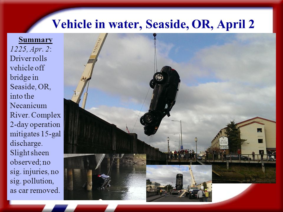 Vehicle in water, Seaside, OR, April 2 Summary 1225, Apr.