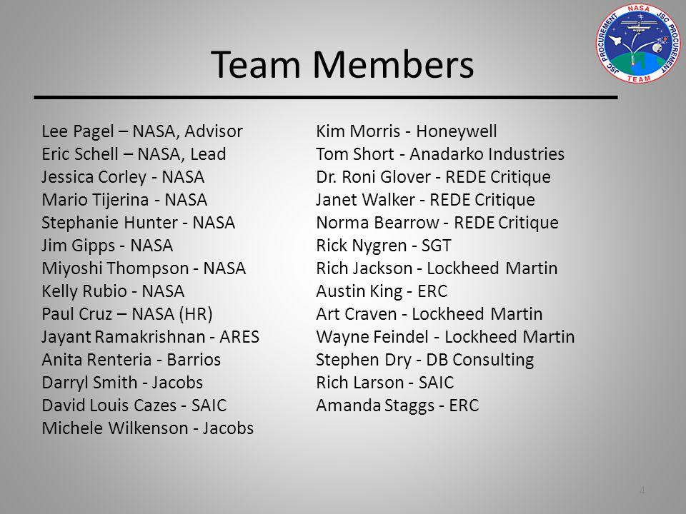 Team Members Lee Pagel – NASA, Advisor Kim Morris - Honeywell Eric Schell – NASA, Lead Tom Short - Anadarko Industries Jessica Corley - NASA Dr.