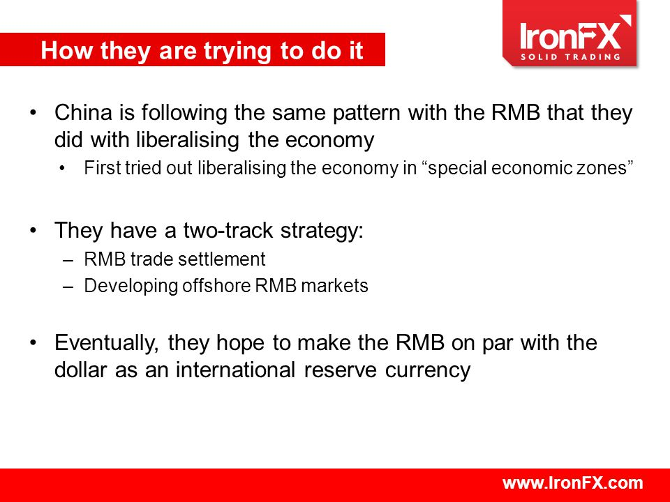 www.IronFX.com China is following the same pattern with the RMB that they did with liberalising the economy First tried out liberalising the economy in special economic zones They have a two-track strategy: –RMB trade settlement –Developing offshore RMB markets Eventually, they hope to make the RMB on par with the dollar as an international reserve currency How they are trying to do it