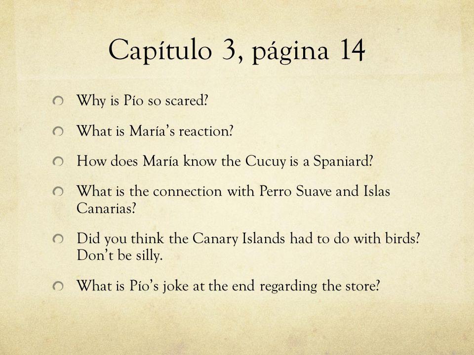Capítulo 3, página 14 Why is Pío so scared. What is María's reaction.