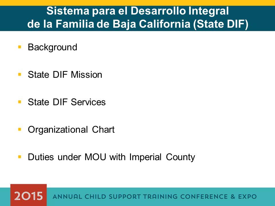 Sistema para el Desarrollo Integral de la Familia de Baja California (State DIF)  Background  State DIF Mission  State DIF Services  Organizational Chart  Duties under MOU with Imperial County