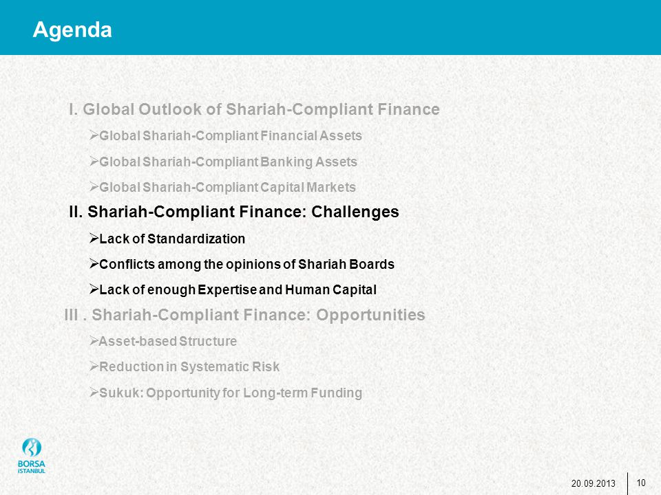 10 Agenda I. Global Outlook of Shariah-Compliant Finance  Global Shariah-Compliant Financial Assets  Global Shariah-Compliant Banking Assets  Globa