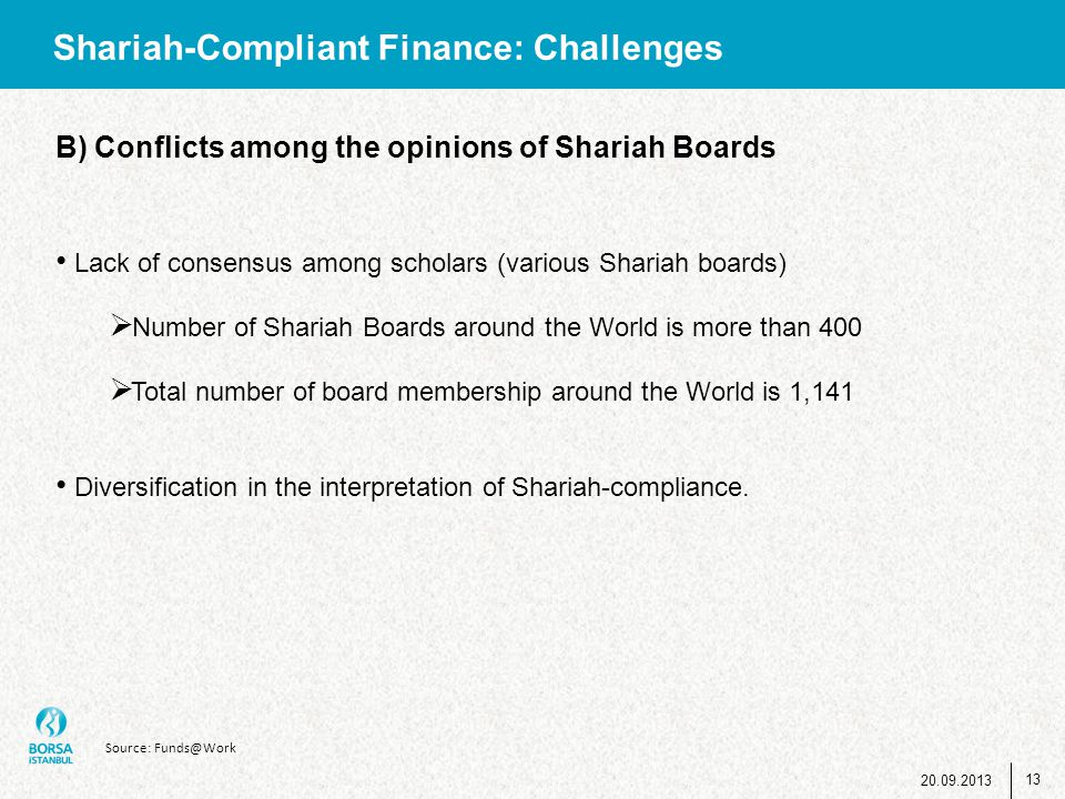 Shariah-Compliant Finance: Challenges B) Conflicts among the opinions of Shariah Boards Lack of consensus among scholars (various Shariah boards)  Nu