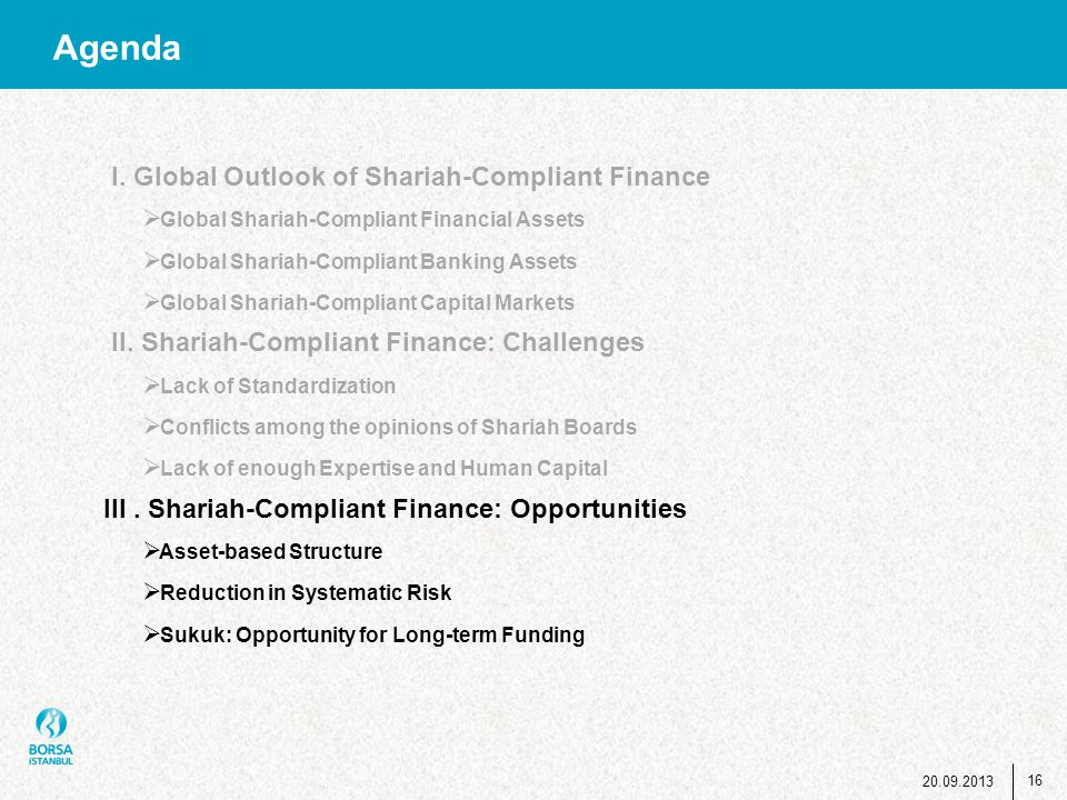Agenda 16 20.09.2013 I. Global Outlook of Shariah-Compliant Finance  Global Shariah-Compliant Financial Assets  Global Shariah-Compliant Banking Ass