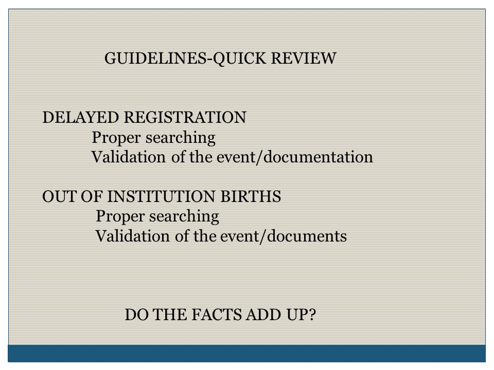 GUIDELINES-QUICK REVIEW CERTIFICATION OF BIRTH (Safety Paper) Layers of Security Trusted Vendor ACCESS TO VITAL RECORDS Authorization Eligibility to Obtain Identification Requirements Application Requirements