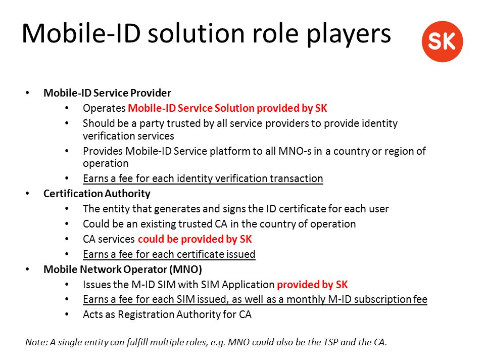 Mobile-ID Service Provider Operates Mobile-ID Service Solution provided by SK Should be a party trusted by all service providers to provide identity v