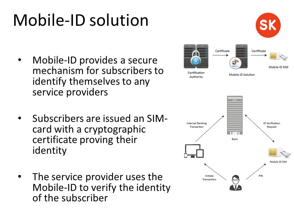 Mobile-ID provides a secure mechanism for subscribers to identify themselves to any service providers Subscribers are issued an SIM- card with a crypt
