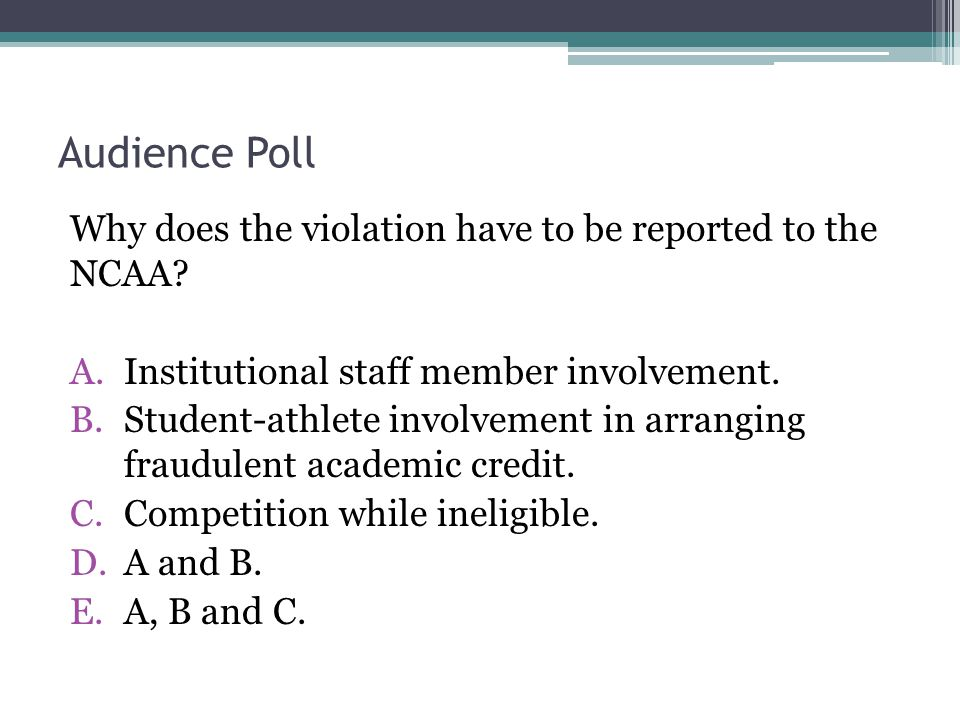 Audience Poll Why does the violation have to be reported to the NCAA.