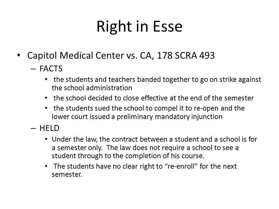 Right in Esse Capitol Medical Center vs.