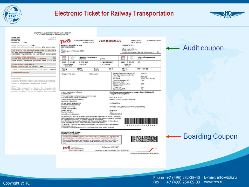 Electronic Ticket for Railway Transportation Audit coupon Boarding Coupon