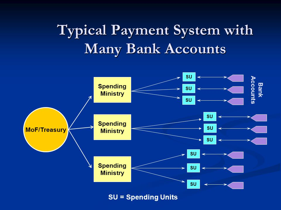 Typical Payment System with Many Bank Accounts Spending Ministry Bank Accounts SU MoF/Treasury Spending Ministry Spending Ministry SU = Spending Units SU