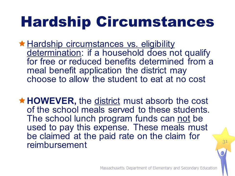 Hardship Circumstances  Hardship circumstances vs.
