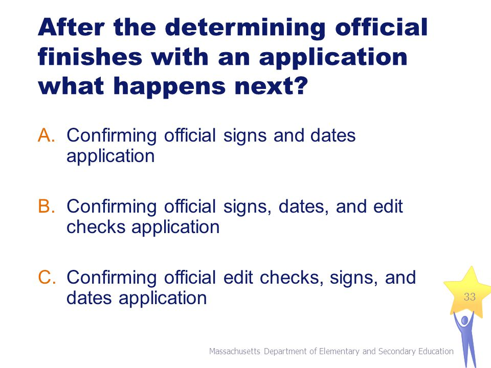 After the determining official finishes with an application what happens next.