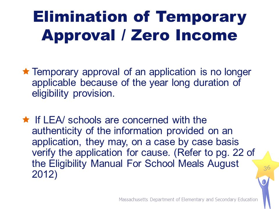 Elimination of Temporary Approval / Zero Income  Temporary approval of an application is no longer applicable because of the year long duration of eligibility provision.