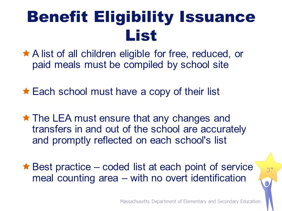 Benefit Eligibility Issuance List  A list of all children eligible for free, reduced, or paid meals must be compiled by school site  Each school must have a copy of their list  The LEA must ensure that any changes and transfers in and out of the school are accurately and promptly reflected on each school s list  Best practice – coded list at each point of service meal counting area – with no overt identification Massachusetts Department of Elementary and Secondary Education 37