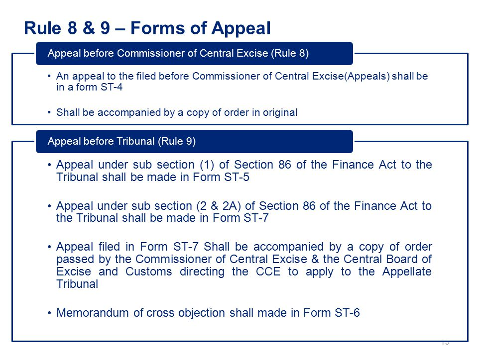 Rule 8 & 9 – Forms of Appeal 15 An appeal to the filed before Commissioner of Central Excise(Appeals) shall be in a form ST-4 Shall be accompanied by a copy of order in original Appeal before Commissioner of Central Excise (Rule 8) Appeal under sub section (1) of Section 86 of the Finance Act to the Tribunal shall be made in Form ST-5 Appeal under sub section (2 & 2A) of Section 86 of the Finance Act to the Tribunal shall be made in Form ST-7 Appeal filed in Form ST-7 Shall be accompanied by a copy of order passed by the Commissioner of Central Excise & the Central Board of Excise and Customs directing the CCE to apply to the Appellate Tribunal Memorandum of cross objection shall made in Form ST-6 Appeal before Tribunal (Rule 9)