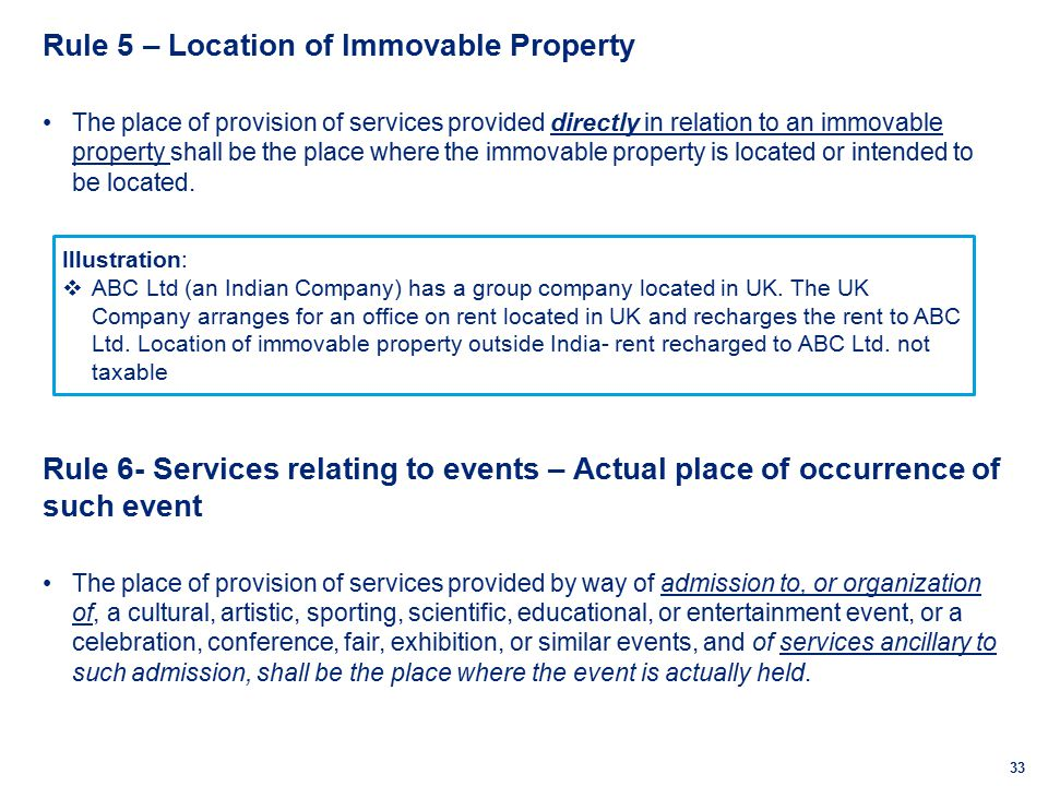 33 Rule 5 – Location of Immovable Property The place of provision of services provided directly in relation to an immovable property shall be the place where the immovable property is located or intended to be located.