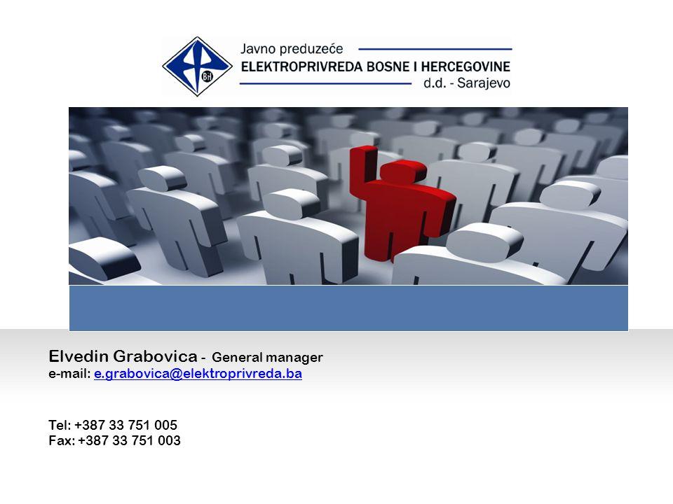 Elvedin Grabovica - General manager e-mail: e.grabovica@elektroprivreda.bae.grabovica@elektroprivreda.ba Tel: +387 33 751 005 Fax: +387 33 751 003