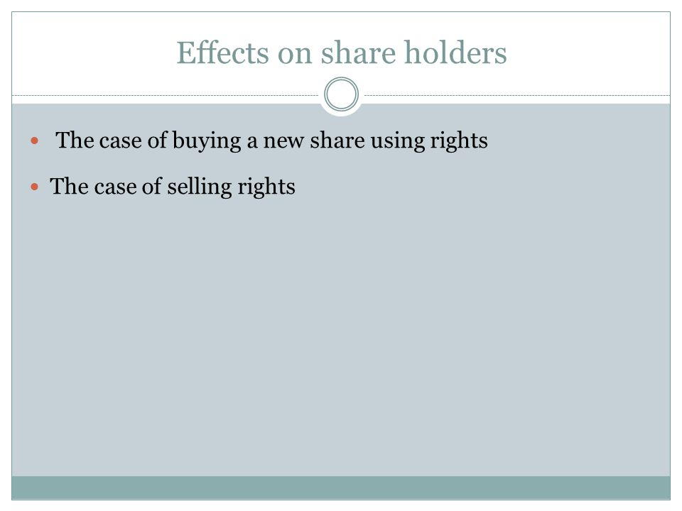 Effects on share holders The case of buying a new share using rights The case of selling rights