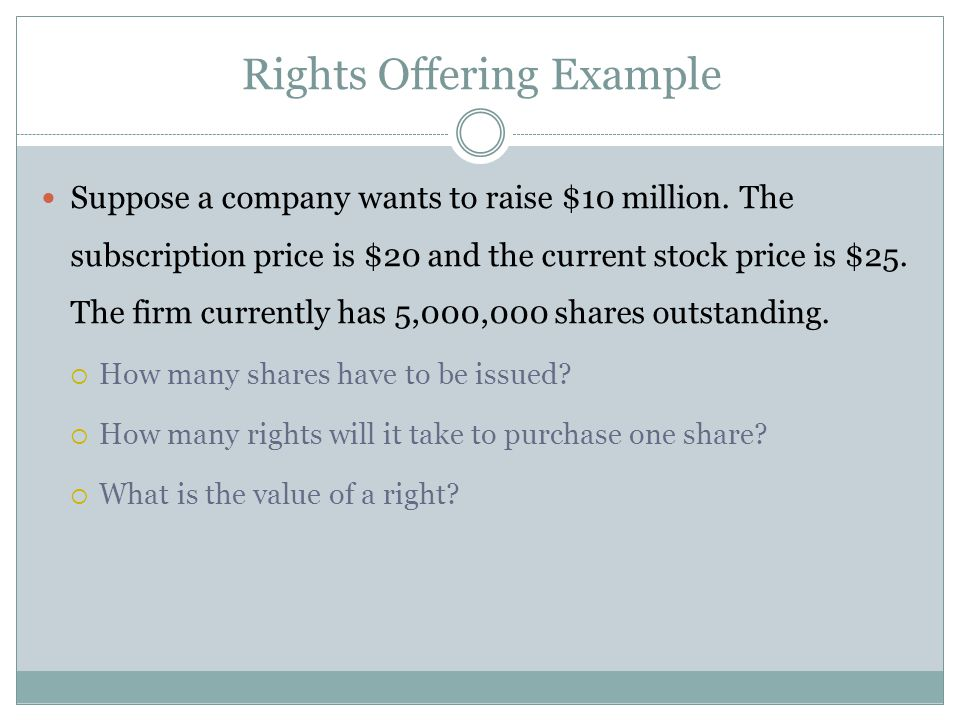 Suppose a company wants to raise $10 million. The subscription price is $20 and the current stock price is $25. The firm currently has 5,000,000 share