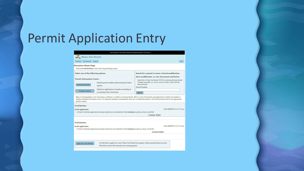 Permit Application Entry