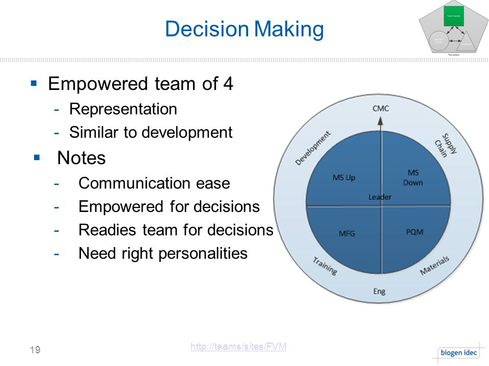 Decision Making 19 http://teams/sites/FVM  Empowered team of 4 -Representation -Similar to development  Notes -Communication ease -Empowered for decisions -Readies team for decisions -Need right personalities