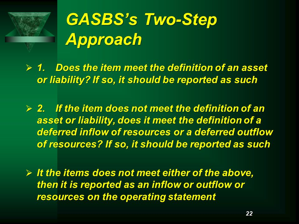 GASBS's Two-Step Approach  1.Does the item meet the definition of an asset or liability.