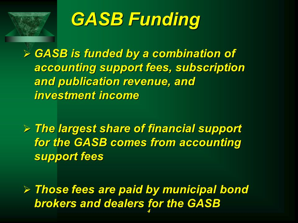 GASB Funding  GASB is funded by a combination of accounting support fees, subscription and publication revenue, and investment income  The largest share of financial support for the GASB comes from accounting support fees  Those fees are paid by municipal bond brokers and dealers for the GASB 4