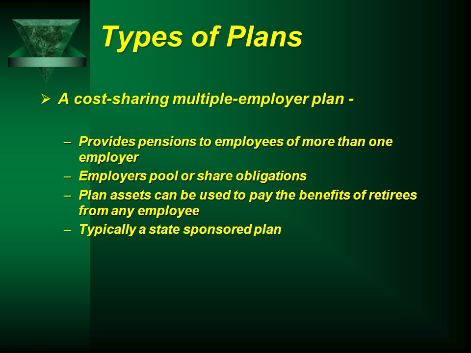 Types of Plans  A cost-sharing multiple-employer plan - –Provides pensions to employees of more than one employer –Employers pool or share obligations –Plan assets can be used to pay the benefits of retirees from any employee –Typically a state sponsored plan