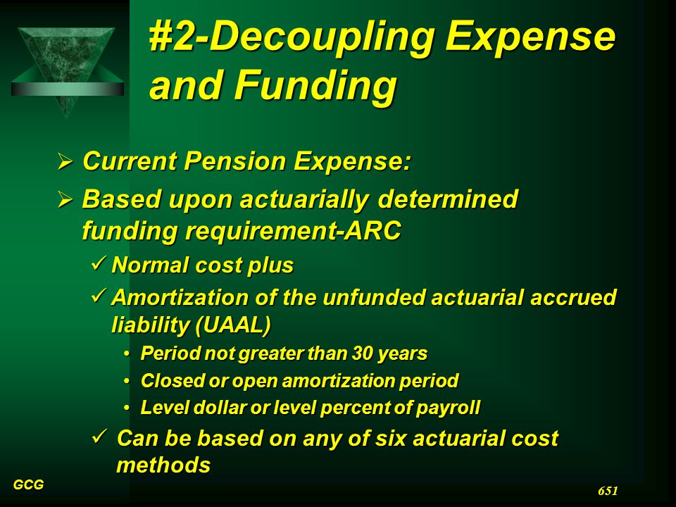 #2-Decoupling Expense and Funding  Current Pension Expense:  Based upon actuarially determined funding requirement-ARC Normal cost plus Normal cost plus Amortization of the unfunded actuarial accrued liability (UAAL) Amortization of the unfunded actuarial accrued liability (UAAL) Period not greater than 30 yearsPeriod not greater than 30 years Closed or open amortization periodClosed or open amortization period Level dollar or level percent of payrollLevel dollar or level percent of payroll Can be based on any of six actuarial cost methods Can be based on any of six actuarial cost methods GCG 651