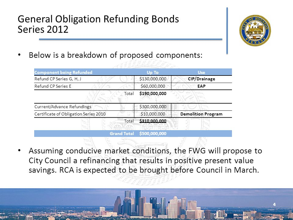 Below is a breakdown of proposed components: Assuming conducive market conditions, the FWG will propose to City Council a refinancing that results in