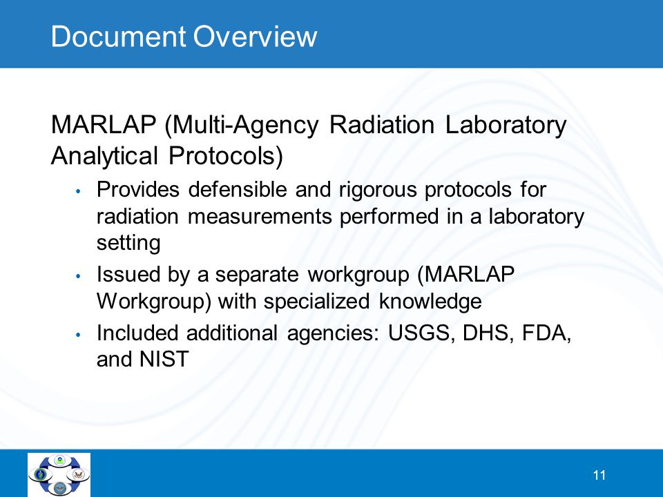 11 Document Overview MARLAP (Multi-Agency Radiation Laboratory Analytical Protocols) Provides defensible and rigorous protocols for radiation measurem