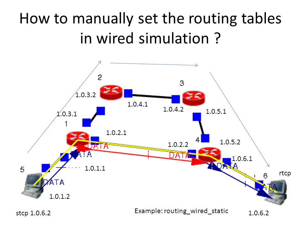 How to manually set the routing tables in wired simulation .