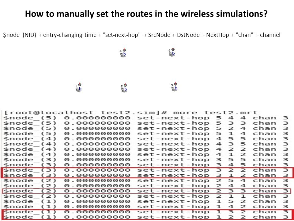 How to manually set the routes in the wireless simulations.
