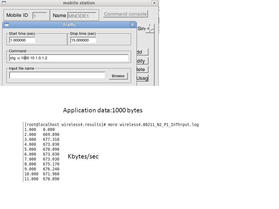 Application data:1000 bytes Kbytes/sec