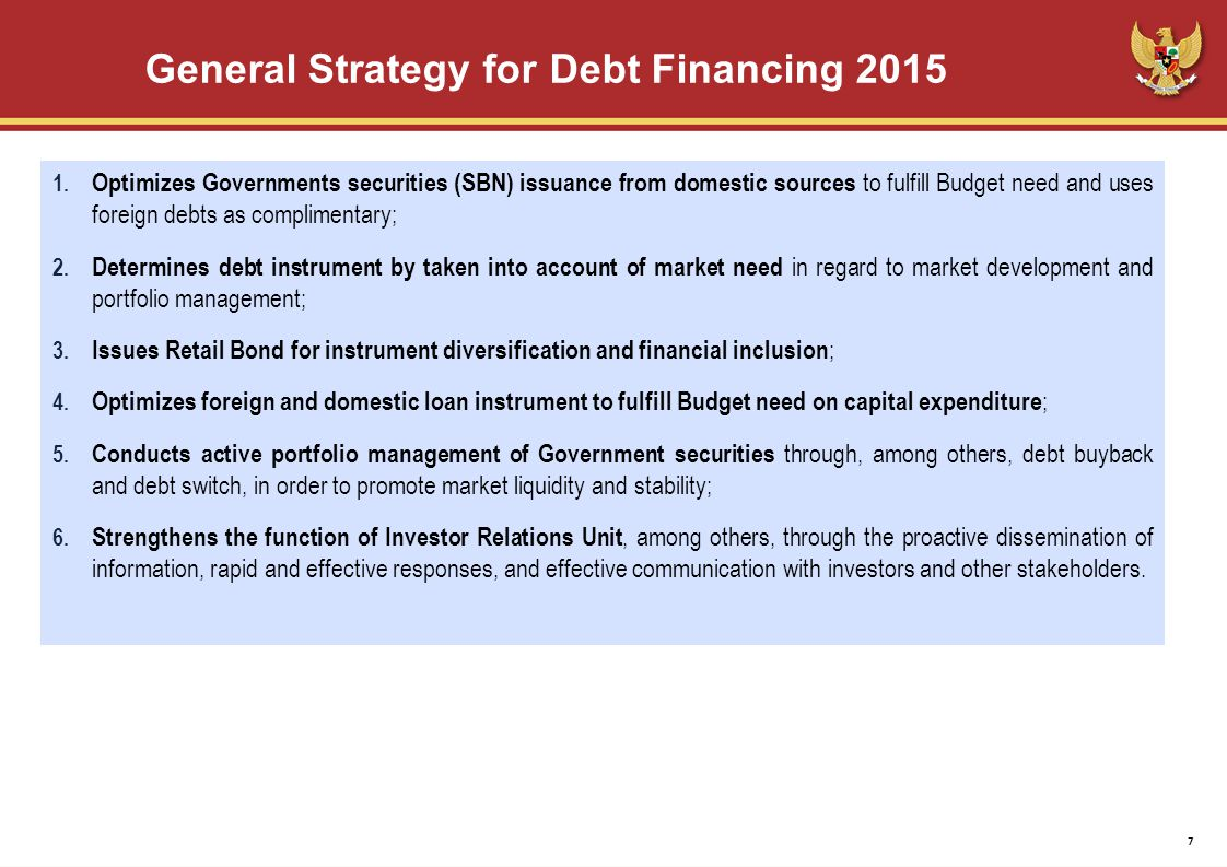 General Strategy for Debt Financing 2015 1.