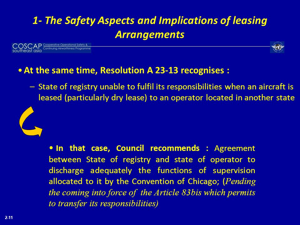 2-11 At the same time, Resolution A 23-13 recognises : –State of registry unable to fulfil its responsibilities when an aircraft is leased (particular