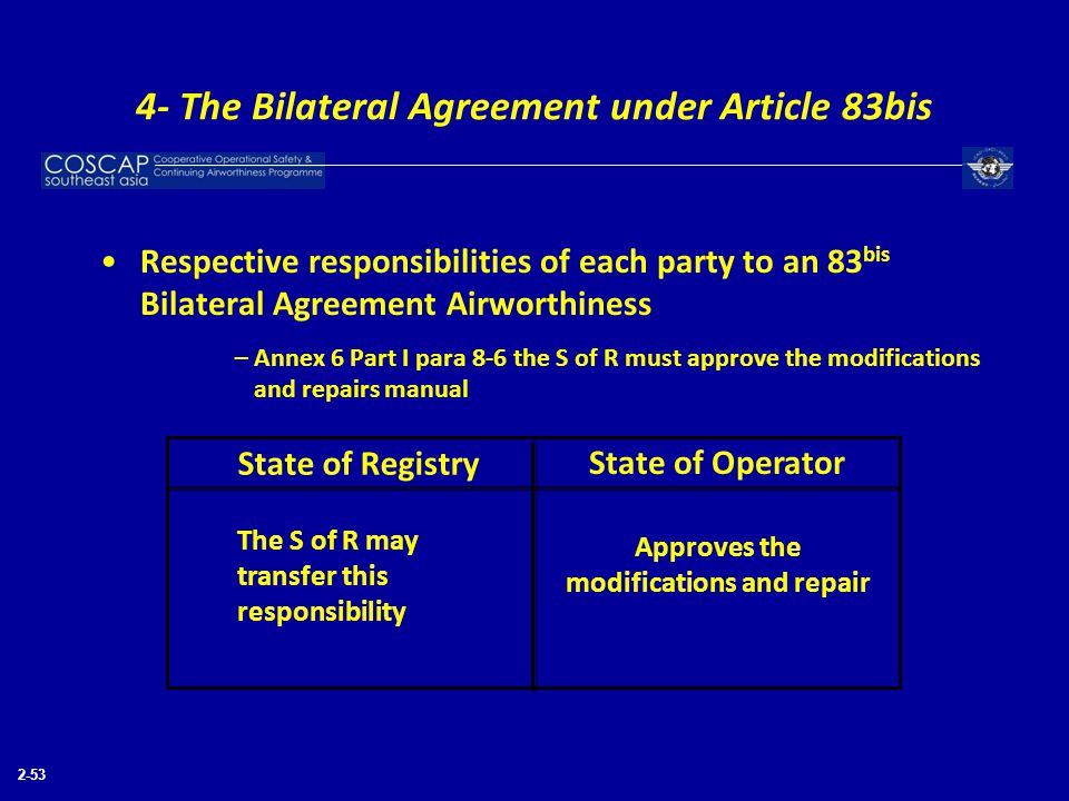 2-53 Respective responsibilities of each party to an 83 bis Bilateral Agreement Airworthiness –Annex 6 Part I para 8-6 the S of R must approve the mod