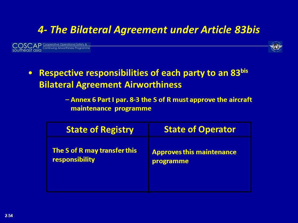 2-54 Respective responsibilities of each party to an 83 bis Bilateral Agreement Airworthiness –Annex 6 Part I par. 8-3 the S of R must approve the air