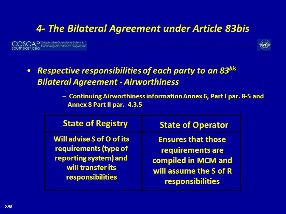 2-58 Respective responsibilities of each party to an 83 bis Bilateral Agreement - Airworthiness – Continuing Airworthiness information Annex 6, Part I